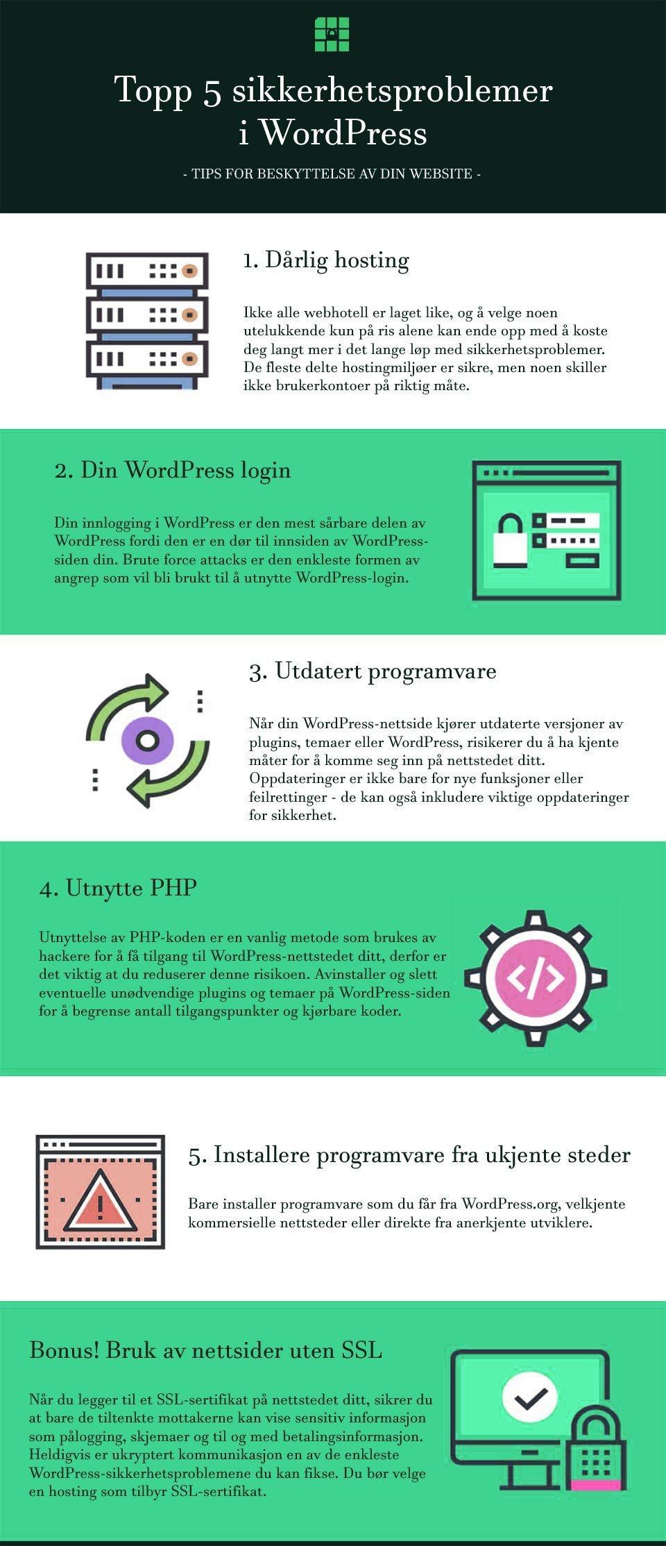 Infographic med 5 tips for beskyttelse av din nettside med WordPress