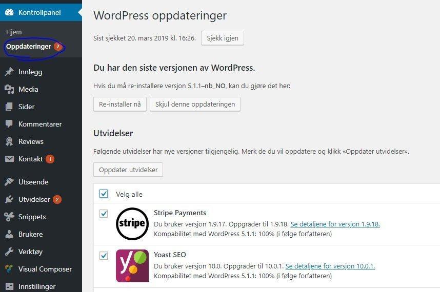 Slik oppdaterer du WordPress