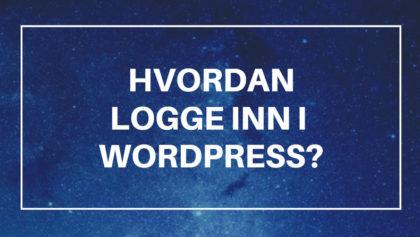 Hvordan logge inn i wordpress