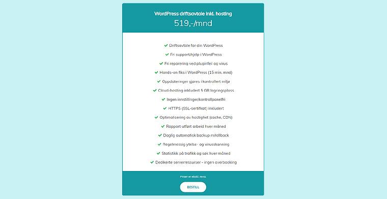 Priser webhosting i Norge